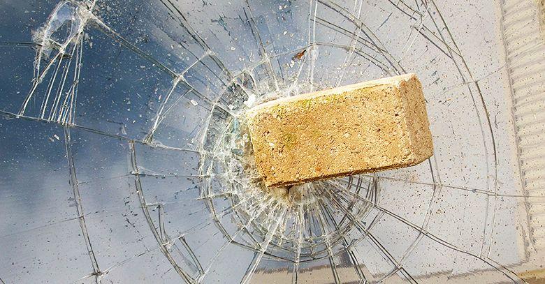 Broken glass in the window